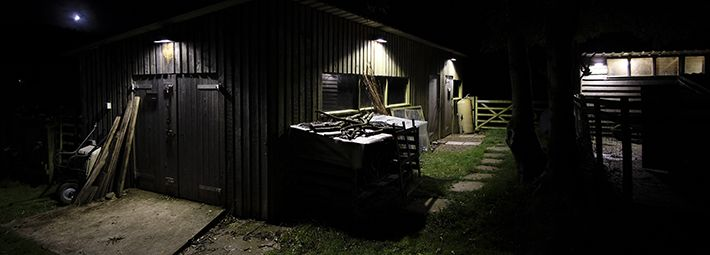 Rawcliffe goat pen and wood shed after lighting fitted