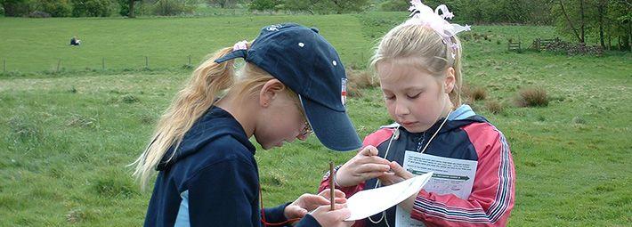 Children at map reading workshop