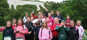 School group at The White Horse, Kilburn