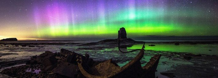 Northern Lights at Saltwick Bay Credit Andy Dawson Photography