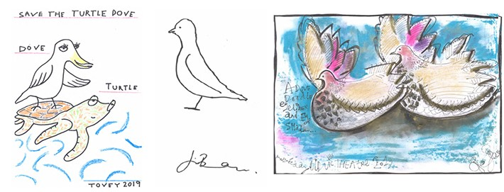 Doodle a Dove sketches. From left to right: Russel Tovey, Jim Broadbent, Sophie Thompson