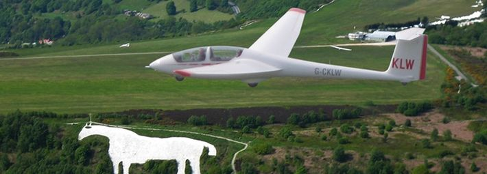 Glider at Sutton Bank with White Horse, Kilburn
