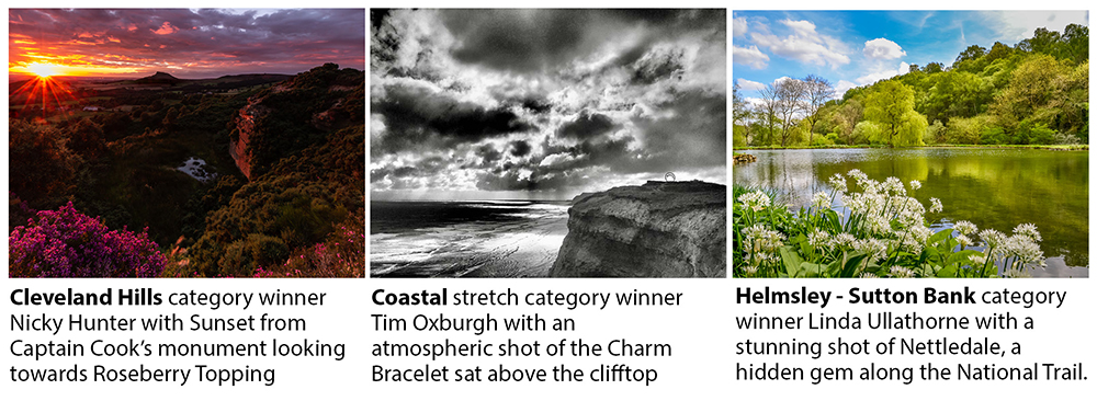 : The three winning photos of the Cleveland Way photo competition celebrating the 50th anniversary of the National Trail