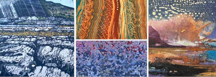 Artworks by Anthony Ratcliffe, Sandra Middleton, Rebecca Vincent and Debbie Loane,