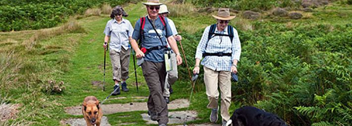 People with dogs on lead on path at Dundale - photo by Mike Kipling