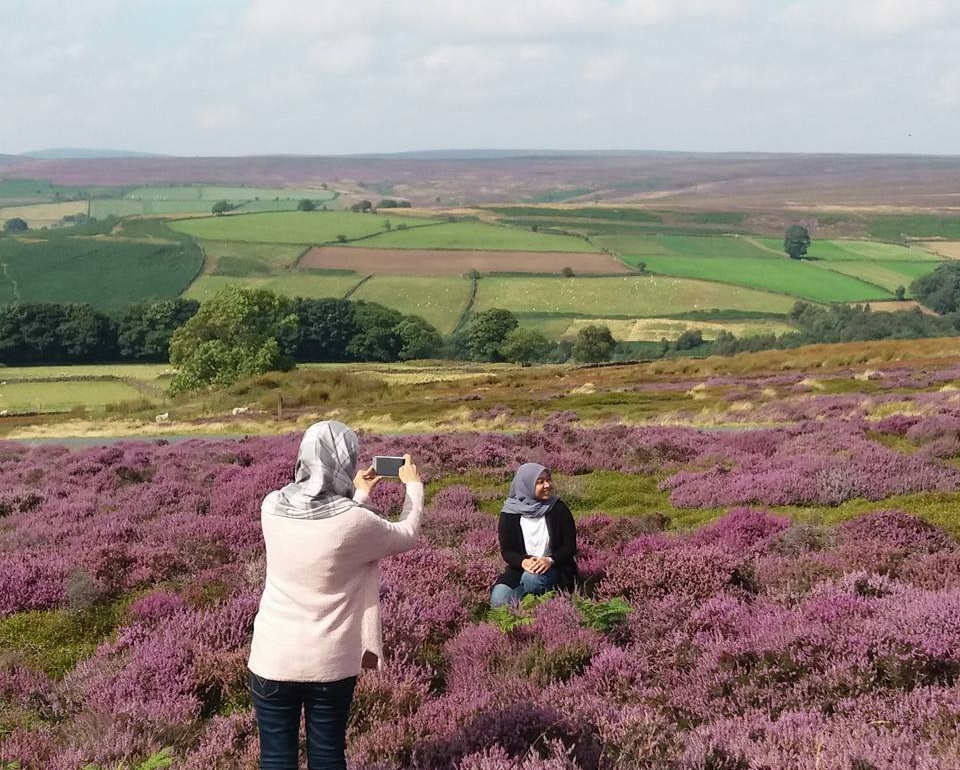 Ladies taking a picture in the heather moorland