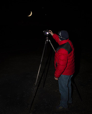Photographer Steve Bell capturing the dark skies above the North York Moors