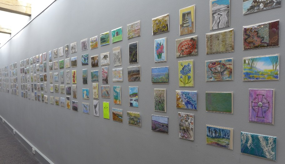 Some of the 1000 postcards on display as part of the Art to Go exhibition