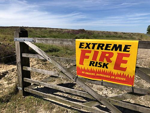 Fire alert Sign on gate, Wheeldale Moor
