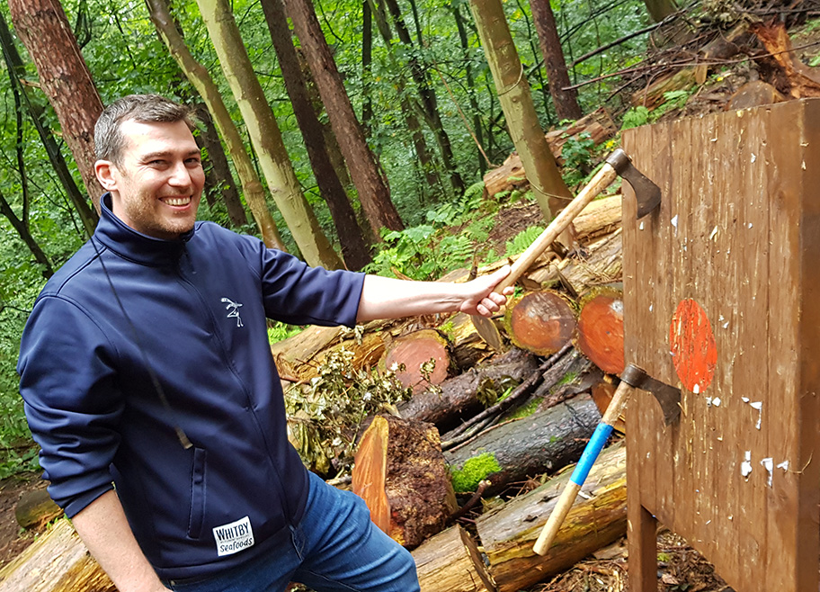 Axe throwing with Rewilding Adventures