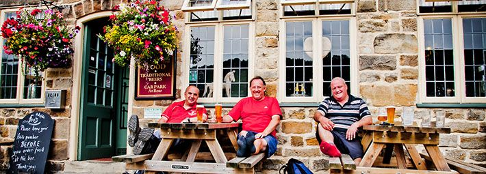 People outside The Crown Inn, Hutton le Hole by Chris J Parker